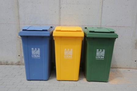 Bateria de pontos de reciclagem