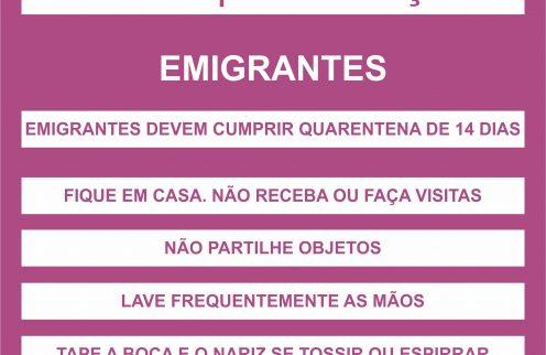 COVID-19 – Emigrantes – Cuidados a ter